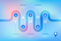 Layered Infographic Timeline. Vector Roadmap, Template For Modern Business Presentation, Annual Reports, Layouts.  stock illustration