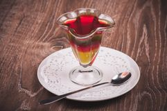 Layered jelly desert in glass Stock Images