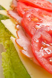 Layered lettuce, cheese, ham and tomatoes sandwich Royalty Free Stock Photos