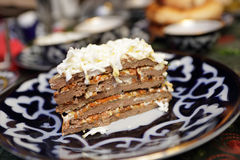 Layered liver cake Stock Images