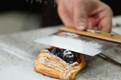 Layered loaf with blackberries and powdered sugar. Kitchen stock photo