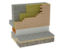 The layered masonry heat insulation system. The layered masonry heat insulation is the system, which consists of a bearing wall, heat insulation material layer Royalty Free Stock Image