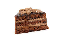 Layered piece of chocolate cake Stock Photo