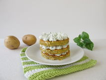 Layered potato pancakes with cream cheese Stock Image