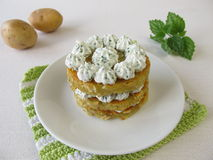 Layered potato pancakes with cream cheese Royalty Free Stock Photography