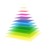 Layered rainbow colored pyramid Stock Photography
