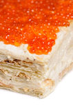 Layered red caviar pie Royalty Free Stock Images