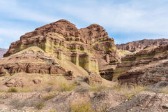 Layered rock formations in the Quebrada de las Conchas, Argentin Stock Images
