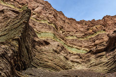 Layered rock formations in the Quebrada de las Conchas, Argentin Royalty Free Stock Images