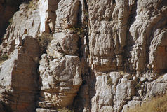 Layered rock in the mountains of Tien Shan Stock Photos
