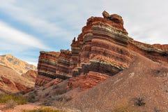 Layered rock in the Quebrada de las Conchas, Argentina Royalty Free Stock Images