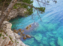 Layered rocks. Petrovec. Montenegro. Royalty Free Stock Images