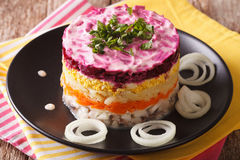 Layered salad with herring, beets, carrots, onions, potatoes and stock images