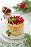 Layered salad from vegetables on the holiday table Royalty Free Stock Photography