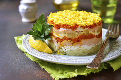 Layered salad with vegetables and salmon Stock Photography