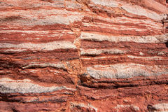 Layered sandstone wall in Red Canyon, Israel Stock Photos