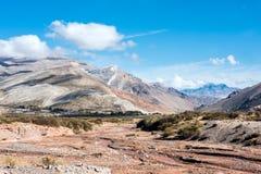 Colorful valley of the Rio Grande, Mendoza, Argentina stock image