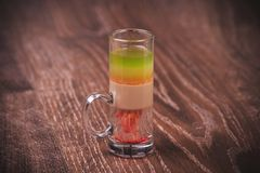 Layered shot cocktail with alcohol Stock Photo