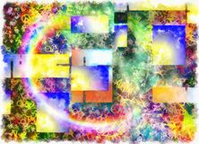 Layered Text Abstract. Rainbow and geometric figures Royalty Free Stock Photography