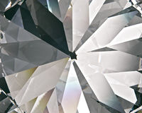 Realistic diamond with caustic close up texture, 3D illustration. Layered triangular macro diamond shapes with a small diamond over them Royalty Free Stock Images