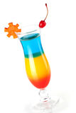 Layered tropical cocktail with maraschino Stock Photos