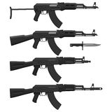 Assault Rifles. Layered vector illustration of different Assault rifles Royalty Free Stock Photography
