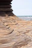 Layered volcanic rock formation. On weizhou island Stock Photos