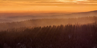 Layers of mist in the evening Royalty Free Stock Image