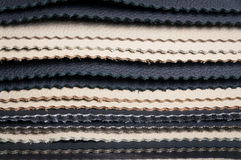 Layers of black and white leather samples Stock Photos