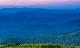 Layers of Blue Ridge Mountains at Sunset Stock Photo