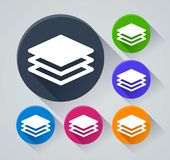 Layers circle icons with shadow. Illustration of layers circle icons with shadow royalty free illustration