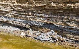 Layers of clay and sand. Above the salt creek. Rockslide Royalty Free Stock Photos
