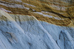Layers of clay and sand on a cliff. In Canada Royalty Free Stock Image