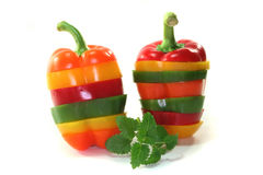 Layers of colorful peppers Stock Photo