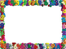 3D Numbers border- vector. Layers of coloured illustrated 3D numbers in random orientation forming a border with white background - Vector Stock Photos