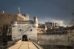 View of medieval city walls of Avignon from the Pont d` Avignon, France stock photos