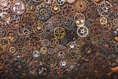 Layers of different cogwheels. Heavy machinery. Clockwork Royalty Free Stock Images