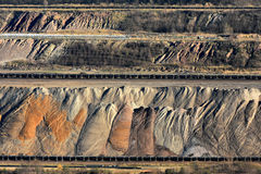 Layers of earth. In open cast brown coal mining in Garzweiler, Germany stock images