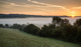 Layers of fog over Autumn agricultural landscape Royalty Free Stock Photography