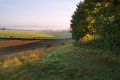 Layers of fog over Autumn agricultural landscape Royalty Free Stock Photo
