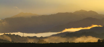 Layers of foggy hills Royalty Free Stock Photography