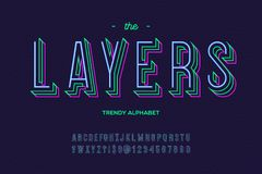 Layers font. Alphabet modern typography sans serif colorful line style. For party poster, printing on fabric, t shirt, promotion, decoration, stamp, label Stock Images
