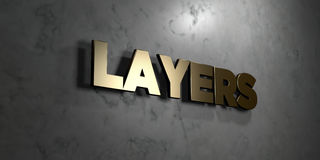 Layers - Gold sign mounted on glossy marble wall - 3D rendered royalty free stock illustration. This image can be used for an online website banner ad or a royalty free illustration