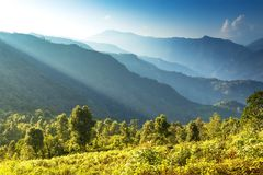 Layers of the hills with dividing morning light stock photo