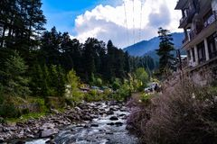 Layers of Himalayan river valley. royalty free stock images