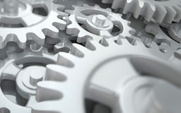 Interlocking cog wheels. Layers of interlocking cog wheels with selective focus ( as in gear box Stock Photo