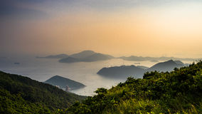 Layers of islands view from mountain Royalty Free Stock Images