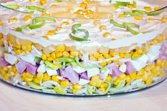 Layers of layer salad. In glass utensil stock images