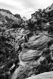 Layers upon layers of rock peaks in black and white, USA Stock Photography
