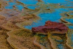 Layers of limestone travertine near the Crystal Geyser Utah Clos Stock Photos